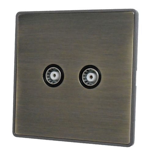 G&H LAB36B Screwless Antique Bronze 2 Gang TV Coax Socket Point